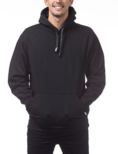 Pro Club Men's Heavyweight Pullover Hoodie (13oz), Large, Black