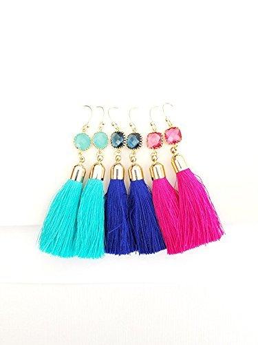 Blue Tassel Earrings Blue Fringe Earrings Summer Earrings Handmade Blue Tassel Earrings Gold Wedding Earrings Tassel Earrings