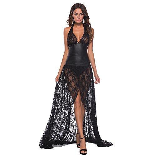 Ansenesna Reizwäsche Damen Erotik Schwarz Kleid Push Up Leder Spitze Transparente Babydoll Frauen Leidenschaft Versuchung Kostüme (L, Schwarz)