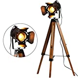 Industrial Tripod Floor Lamp for Living Room Bedroom, Vintage Standing Reading Lamp with Metal Wood Leg for Studio,Study Room and Office, Black (no LED Light)