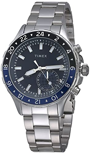 Timex Men's TW2R39700 IQ+ Move Multi Time Silver-Tone/Blue Stainless Steel Bracelet Smartwatch