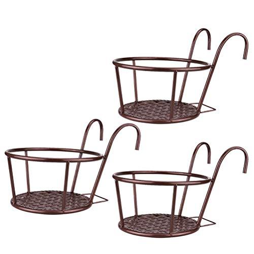 genral 3 Stück rundes Geländer Pflanzgefäß Eisen Kunst hängende Körbe Blumentopfhalter Kleiderbügel über der Metallzaunschiene für Patio Balkon Veranda oder Zaun Pflanzgefäße montieren