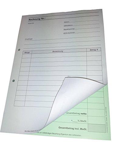 4x Rechnungsblock Block Rechnung DIN A5, 2-fach selbstdurchschreibend,2x50 Blatt weiß/grün - gelocht (22434)