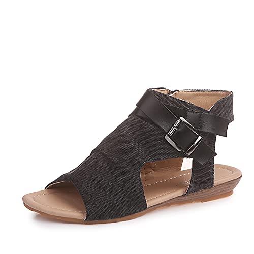 Sandalias para mujer, de piel sintética, con hebillas y correas, para mujer