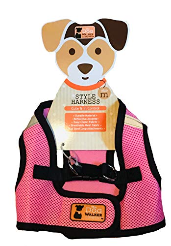 The Dog Walker Company Reflector Accent Harness | Medium 15-20 Lbs Pink with Black Trim