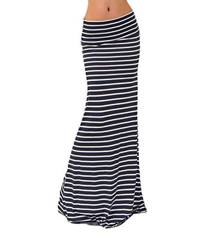 BoBoLily Faldas Mujer Largas Cintura Alta Slim Fit Elegantes Vintage Classic Rayas Moda Casual Falda Larga Falda Tubo