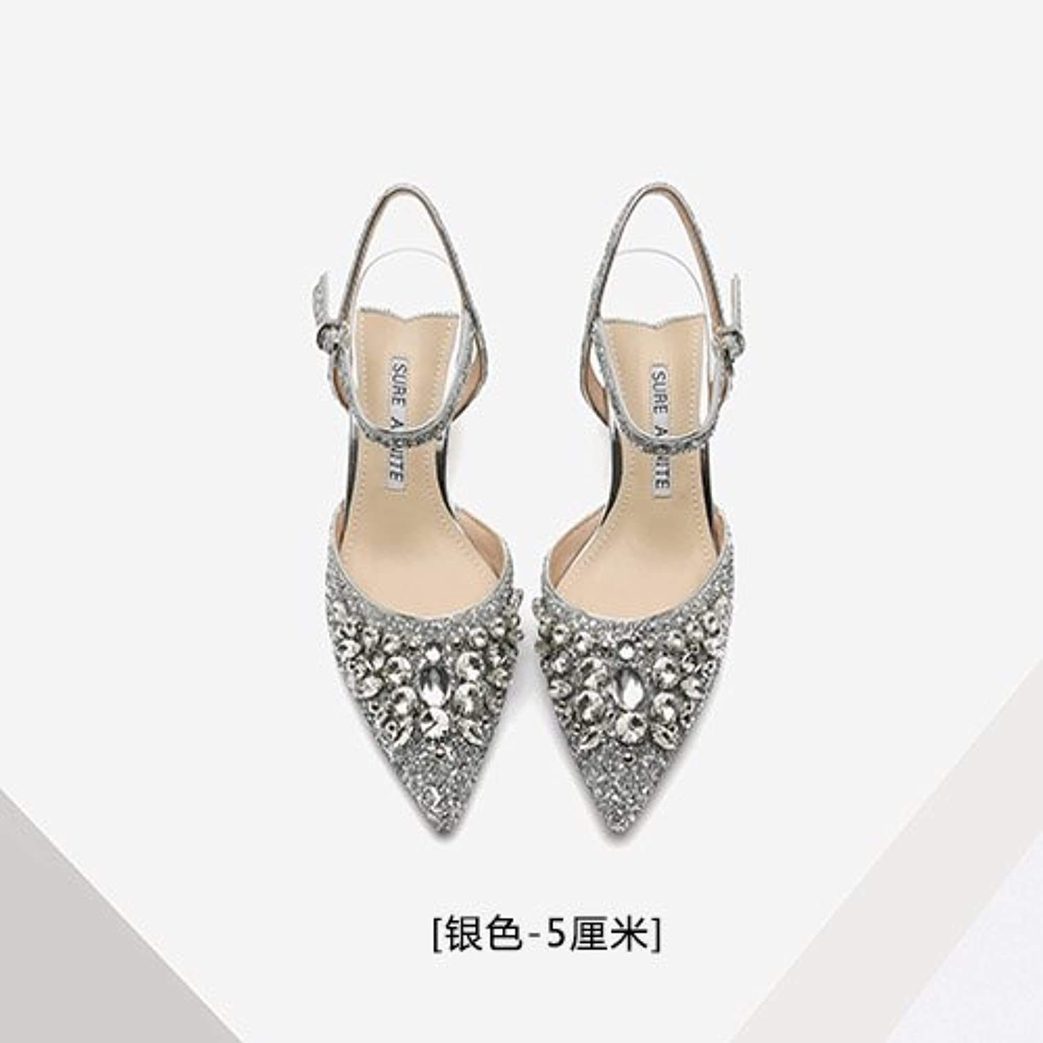 Summer style crystal sequins, high heels, shoelace buttons, empty women sandals, fine heel crystal shoes, silver wedding shoes,Forty,Silver (5CM)