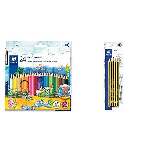 STAEDTLER-Noris Club aquarell 10 Estuche con 24 lápices, multicolor, (144 10NC24) + Lápiz (5 unidades, dureza variada)