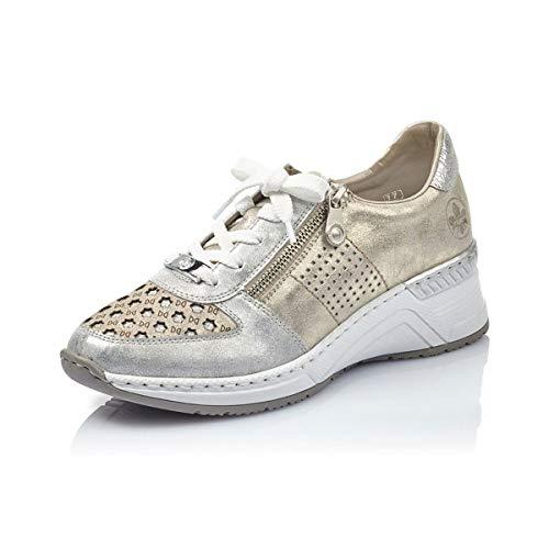 Rieker Damen Halbschuhe, Chaussures Basses Femme N4326, Metallic, 42 EU