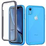 CENHUFO Funda iPhone XR Antigolpes iPhone XR Carcasa con Protector de Pantalla Incorporada Anti-rayones [Anti-Amarilleo] 360 Grados Protección Case Bumper Transparente Funda para iPhone XR - Azul