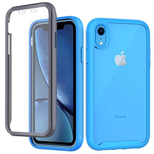 CENHUFO Coque Compatible avec iPhone XR, Antichoc Housse avec Protection écran, 360 Degrés Full Body Protection Case Etui Bumper Robuste Transparent Intégrale Coque pour iPhone XR (6,1 Pouces) Bleu