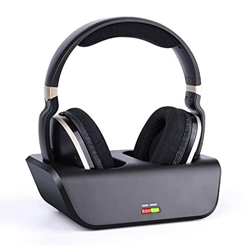 Kabellose Fernseher Funkkopfhörer mit Optischer Funktion Digitales HiFi Kopfhörer mit Ladestation und 2,4-GHz-HF-Sender, 33 Meter Reichweite und Wiederaufladbarer 20-Stunden-Akku, Schwarz und Gold