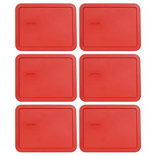 Pyrex 7211-PC - Coperchio rettangolare in plastica per alimenti, 6 tazze, colore: Rosso papavero 6 Cup Poppy Red
