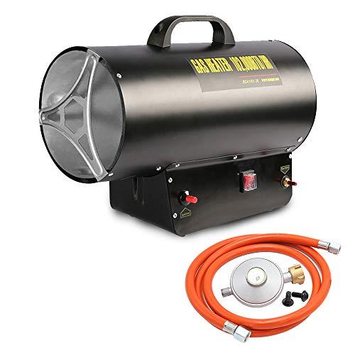 Hengda 10kW Gasheizgebläse Heißluftgenerator mit 320 m³/h Luftdurchsatz Gas Heizgerät inkl. Gasschlauch und Druckminderer Gasheizer Heizkanone