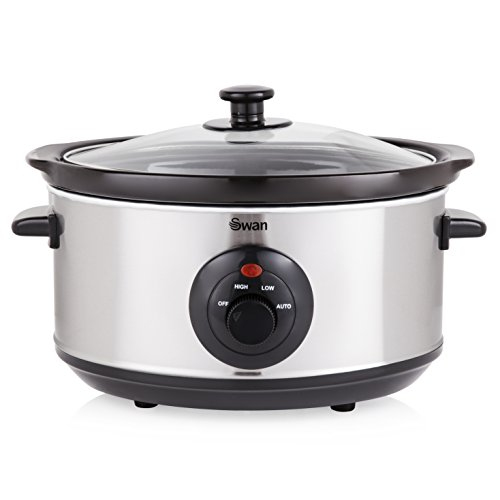 Swan SF17020N 3.5 Litre Oval Stainless Steel Slow Cooker with 3 Cooking Settings, 200W, Silver