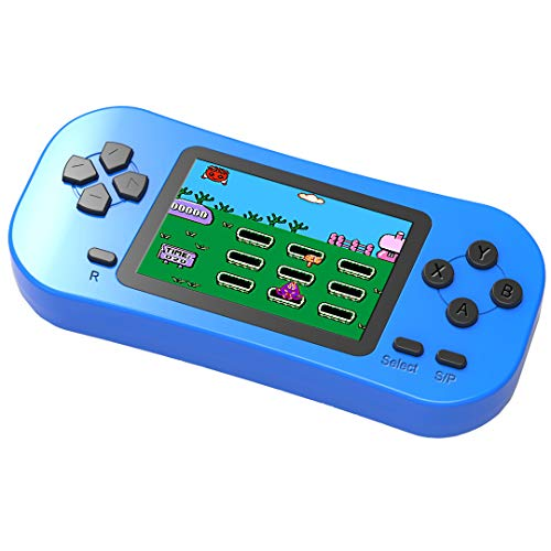 Douddy Retro Handheld Game Console for Kids Built in 218 Old School Video Games 2.5'' Display USB Rechargeable 3.5MM Headphone Jack Arcade Entertain Birthday Xmas Gift (Blue)