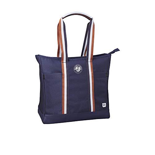 Wilson Tennis-Rucksack für Damen, Roland Garros Tote, Für bis zu 2 Schläger, Blau/Braun/Weiß, WR8007001001