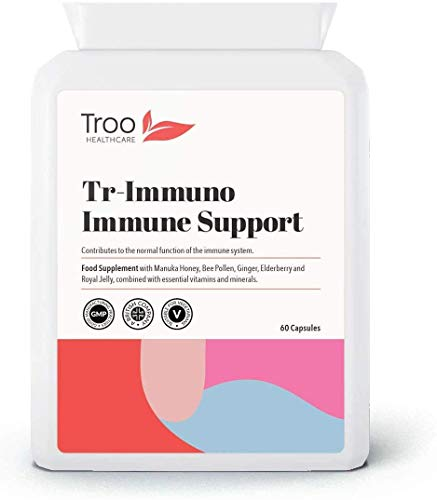 Tr-Immuno Immune Support Supplement - 60 Capsules Packed with Vitamin C, D & E | Zinc | Manuka Honey | Bee Pollen | Ginger Root | Royal Jelly | Essential Vitamins and Minerals | UK Manufactured