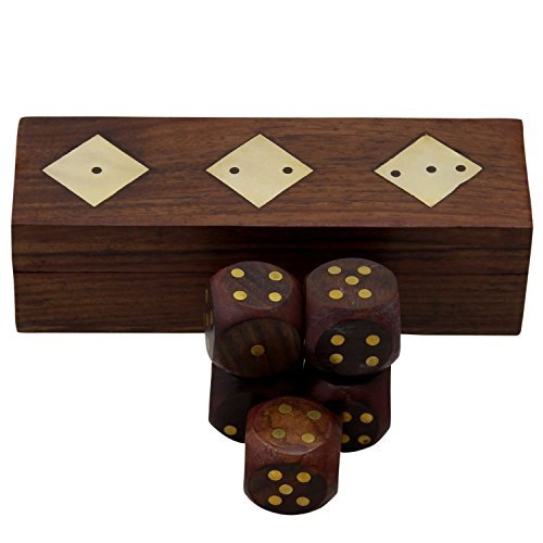 Handcrafted Wooden Dice Box With 5 Dice Set by RoyaltyRoute