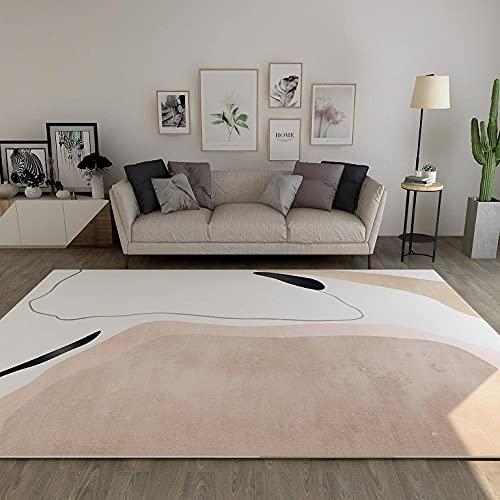 Alfombras Salon Modernas Grande Alfombra Lavable Antideslizante Pelo Corto para Habitacion Pasillo Sala Comedór Dormitorio 160x230cm Rosa Claro Abstracto