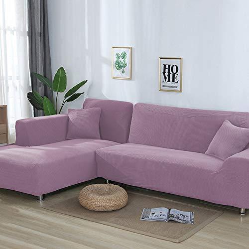 PCSACDF 2 stuks hoezen voor lange sofa Jacquard stretch elastische hoekbank cover woonkamer chaise lounge bank hoezen snit 80-140cm 235-300cm paars (light purple)