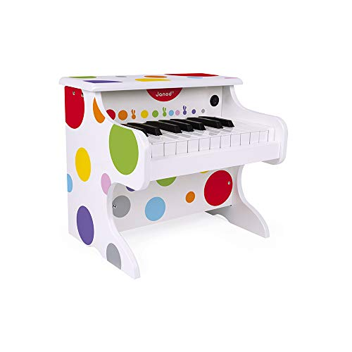 Janod - J07618 - Mi primer piano eléctrico de la colección Confeti, instrumento musical multicolor de madera, juguete musical para niños a partir de 3 años