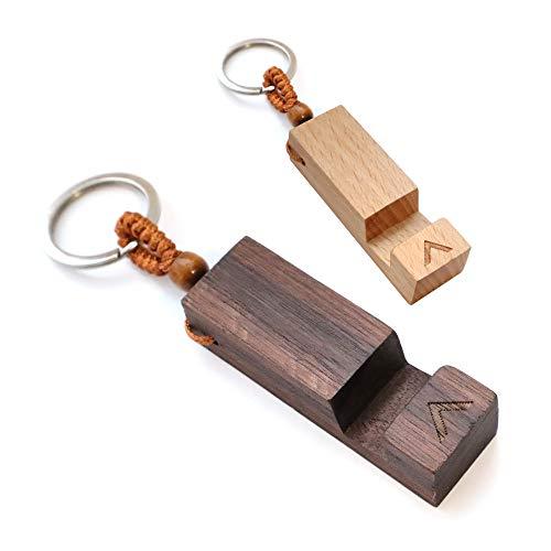 ATRAVIMO® Schlüsselanhänger Handyhalterung aus echtem Walnussholz   für Schlüsselband, Schlüsselbund & Schlüsselkette, Geschenk, Accessories, Gadget, Mini, klein, Home Office, Zubehör, Holz Gravur