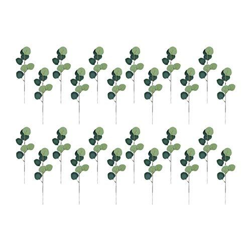 U'Artlines 24 stks Kunstmatige Eucalyptus laat Faux Gedroogde Eucalyptus Tranches Stems, Nep Groen Decor Plastic Planten voor Decoratie 14.2 Inches Tall
