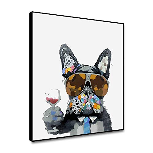 Cassisy Canvas Wall Art Framed Prints Cool Boss Of French Bulldog Wearing Glass Hold Wine 16'x16' Canvas Painting Cute Animal Cartoon Wall Poster Dog Picture For Bathroom Baby Kids Room Kitchen
