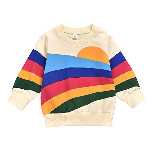 Baby Jungen Mädchen Sonnenaufgang Sonnenuntergang Farbe Streifen Regenbogen Langarm Sweatshirt Tops T-Shirt Blusen Pullover Herbst Winter wuayi