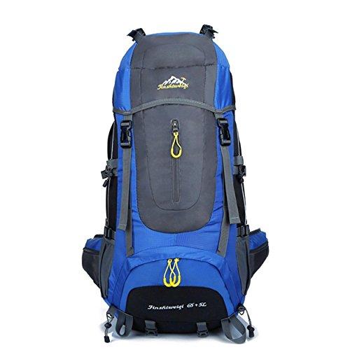 65 + 5L Camping sac à dos Outdoor Sports grande capacité léger sac à dos portatif pour l'alpinisme randonnées voyage équitation multifonction double épaules sac H67 x L35 x T35 cm , blue