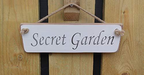 Cartello in legno realizzato a mano, motivo: giardino segreto