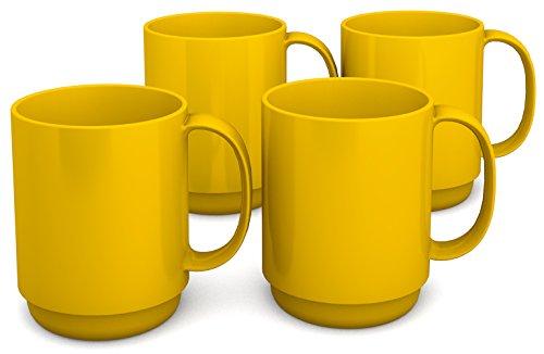 Ornamin Becher mit Henkel 300 ml gelb 4er-Set (Modell 510) / Mehrweg-Becher Kunststoff, Kaffeebecher