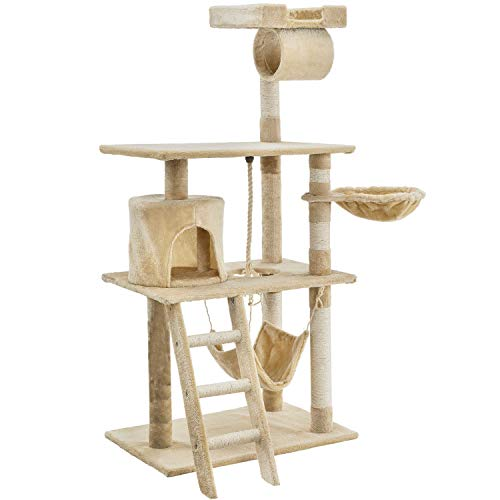 Sam´s Pet Katzen-Kratzbaum Chiara beige | Katzenbaum inkl. Höhle, Liegemulde, Hängematte, Liegeflächen & Sisal Stämme | 141 cm hoch | Katzenkratzbaum