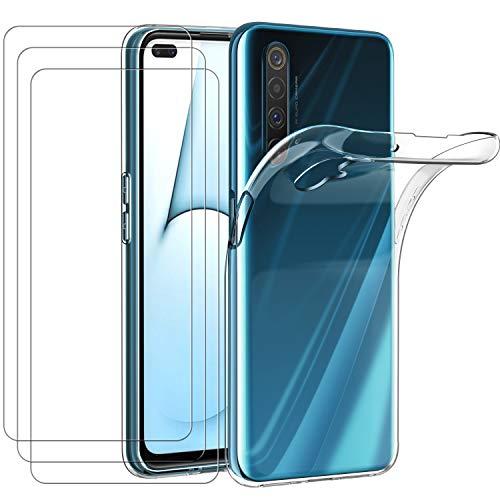ivoler Funda para OPPO Realme X50 5G / Realme X3 SuperZoom, con 3 Unidades Cristal Templado, Transparente Suave TPU Silicona Carcasa Protectora Anti-Choque Caso Delgada Anti-arañazos Case