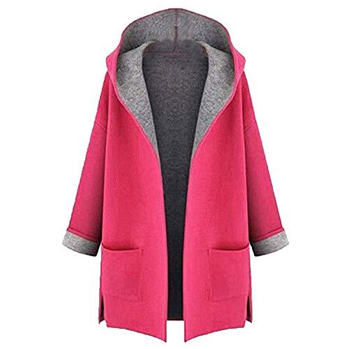 HULKY Vendita Donne Inverno Giacca Lungo Signore Felpa con Cappuccio Warm Cappotto Maglieria Cardigan Manica Parka Top Outwear(Rosa,Large)