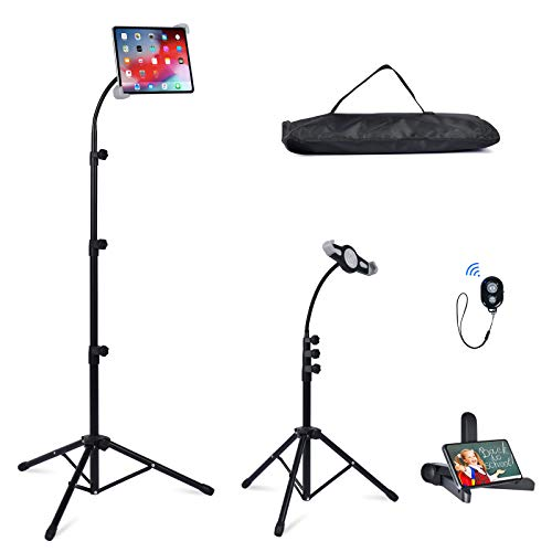 Ipad Tripod Stand, Facilife Height Adjustable up to 63 Inch Tablet Holder with Gooseneck Holder for iPad Pro11, iPad Air 10.5', iPad 9.7' and More 7'-12' Tablets with Bluetooth Remote Control as Gift
