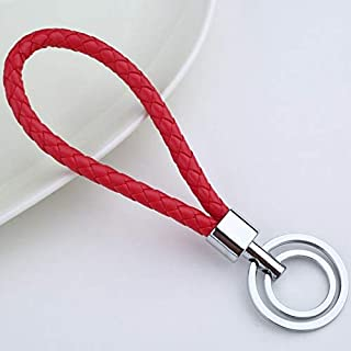 ydc Creative Woven Leather Cord Double Loop Keychain (Red)