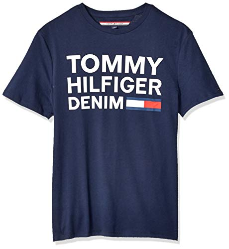 Tommy Hilfiger Men's THD Short Sleeve Logo T Shirt, Navy Blazer, XL