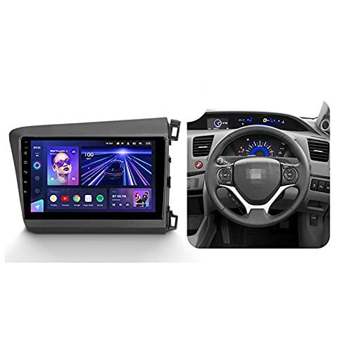 ADMLZQQ Android 10 9'' Car Multimedia 1 DIN para Honda Civic 9 2011-2015,con Control del Volante Cámara De Respaldo Enlace De Espejo 4G LTE+5G WiFi 3D Dinámica De Conducción En Tiempo Real,Cc3,3+32G