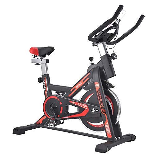 QQLK Bicicleta EstáTica Indoor - Bicicleta De Spinning - Ejercicio Bicicleta Entrenamiento AeróBico, Cambio Silencioso, Carga De 200 Kg,Rojo