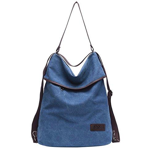 KSK KAISHEK Vintage Canvas Damen Schultertasche Retro Rucksack Multifunktionale Tasche für Arbeit Schule und Lässige täglich