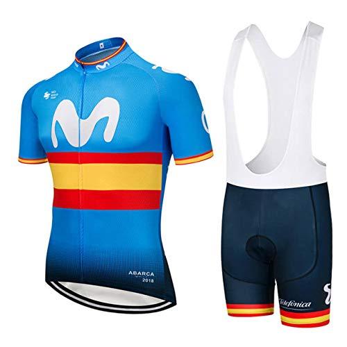 WOLFIRE WF Traje de Ciclismo para Hombre de Equipos. Culotte y Maillot. con 5D Gel Pad. para MTB, Spinning, Bicicleta de Carretera (Movistar e, XL)