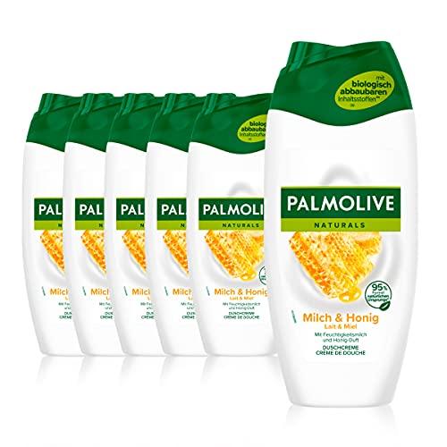 Palmolive Duschgel Naturals Honig & Milch 6 x 250 ml - Cremedusche mit Extrakten von Honig & Milch, geeignet für jeden Hauttyp