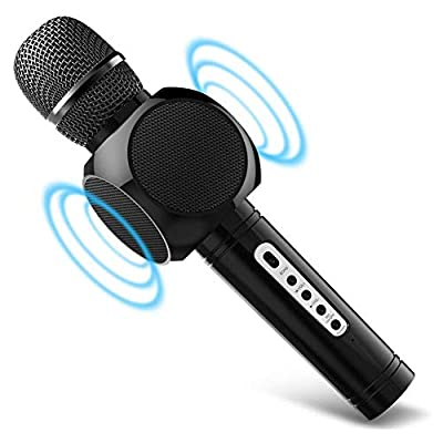 Microphone Karaoke, MODAR Portable Microphone Bluetooth and Double Speaker Built-in Chargeable Battery For Home Outdoor Party KTV Playing Singing Music (Black)