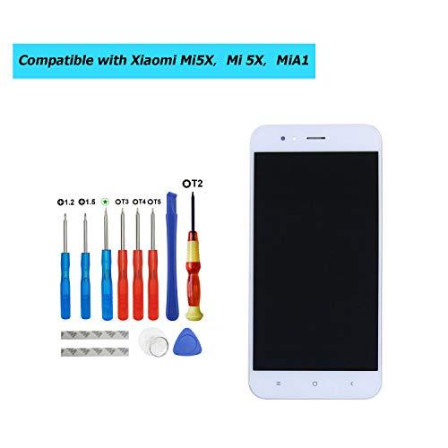 Upplus - Pantalla LCD de Repuesto Compatible con Xiaomi Mi5X, Mi 5X, MiA1, Mi A1 de 5,5 Pulgadas, Pantalla LCD táctil con Marco y Kit de Herramientas (Blanco)