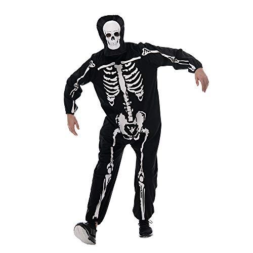 EraSpooky Costume da Scheletro e Maschera da Uomo per Halloween Pigiama Carnevale Cosplay