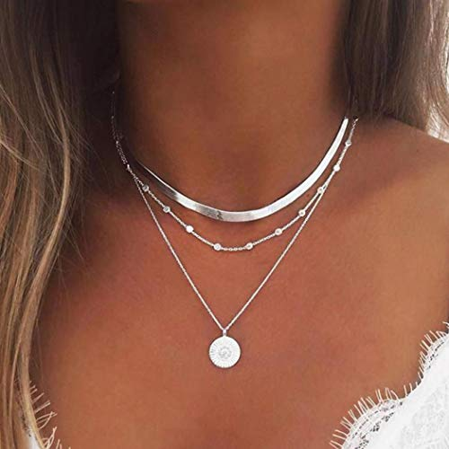Yean - Collar de capas para mujeres y niñas: collar de plata, cadena con colgante de moneda y cadena con cuentas de estilo boho