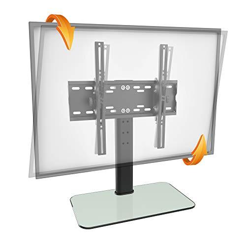 RICOO FS314-W, TV-Ständer, Neigbar, 30-55 Zoll (ca. 76-140cm), Fernseh-Halterung, Fernseher-Stand, Fernseh-Ständer, VESA 200x200-400x400, Weiß Glas