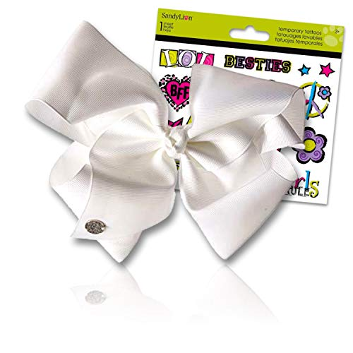 JoJo Siwa Bows Signature Collection Hair Bows for Girls - JoJo Bow Bundled with Best Friends Forever BFF Temporary Tattoos (JoJo Girls White Signature Hair Bow)